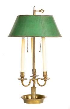 English Brass & Painted Tin Three Light Tole Lamp