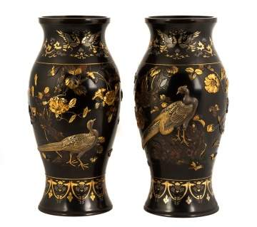 Exceptional Japanese Meiji Period Mixed Metal  Vases