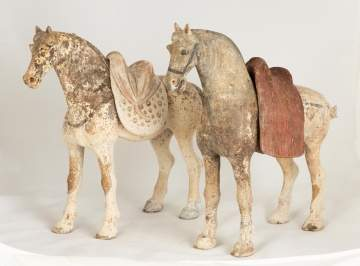 Two Chinese Grey Pottery Horses