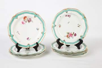 Set of Nine Darby Hand Painted Porcelain Plates