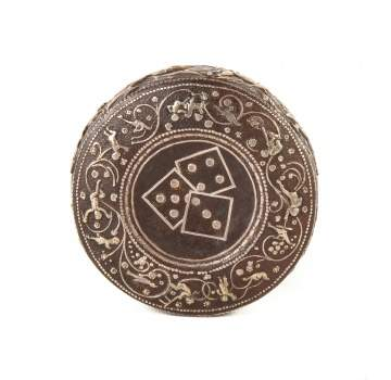 Rare 18th Century Round Iron Dice Container