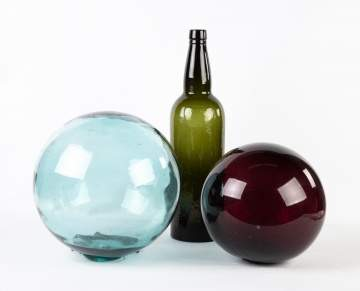 Two Early Blown Glass Spheres with Early Bottle