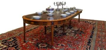 English Hepplewhite Inlaid Accordion Dining Table
