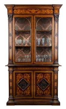 Continental Marquetry Cabinet & Bookcase