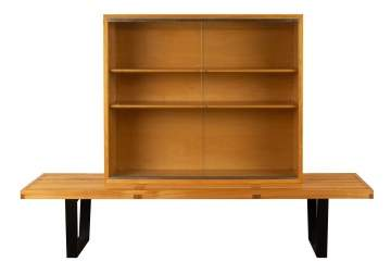 George Nelson & Associates Slat Bench with Bookcase