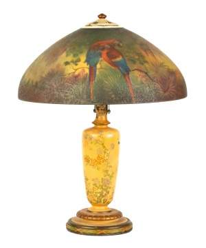 Handel Reverse Painted Jungle Bird Lamp