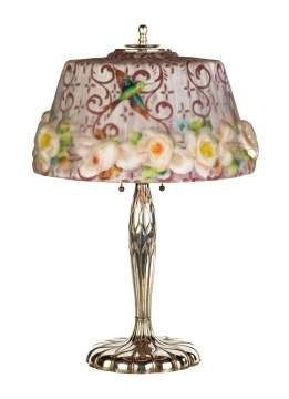 Pairpont Puffy Hummingbird and Rose Table Lamp