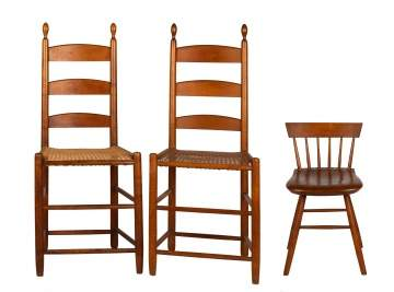 Pair of Shaker Tilter Chairs with Spindle Back Stool