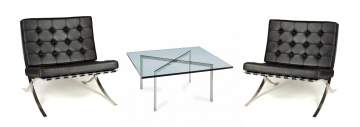 Ludwig Mies Van Der Rohe (1886 - 1969) Pair of Barcelona Chairs & Coffee Table