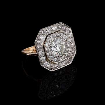 18kt Yellow Gold/Platinum Antique Ring