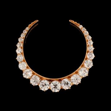 18kt Gold & Diamond Crescent Brooch