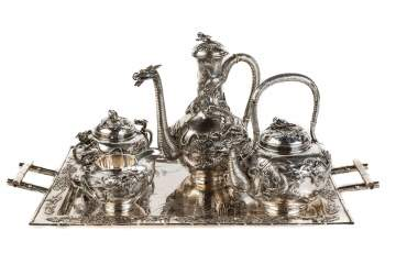 Japanese Export Meiji Period (1868-1912) Sterling Silver Tea Service
