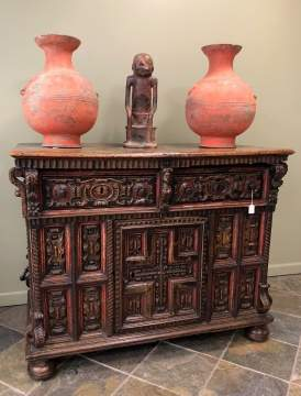 16th Centiry Spanish Polychrome Painted Walnut & Pine Sacristy Commode