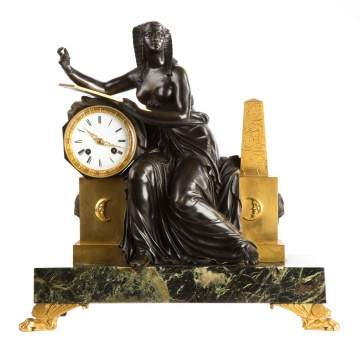 Attributed to Claude Galle (French, 1759-1846) Fine French Egyptian Revival Figural Shelf Clock