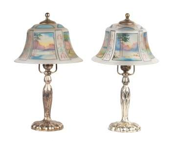 Pair of Pairpoint Reverse Painted Boudoir Lamps