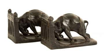 Charles R. Knight Bronze Elephant Bookends