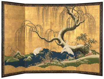Four Paneled Hand Painted Asian Screen
