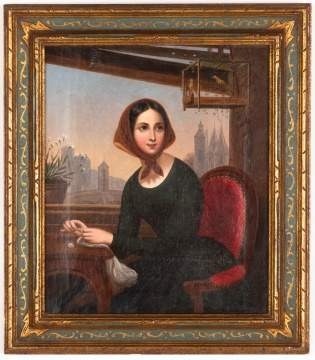 Victorian Portrait of Lady with Bird Cage