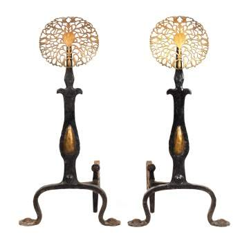Wrought Iron and Brass Sun Flower Andirons