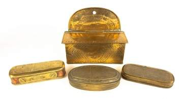 Early Brass and Copper Tobacco Boxes/Wall Pocket