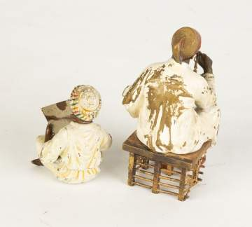 Two Austrian Cold Patinaed Bronze Seated Figures