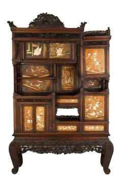 Japanese Carved, Inlaid and Lacquered Cabinet
