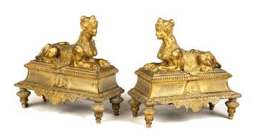 Pair of French Gilt Bronze Chenets