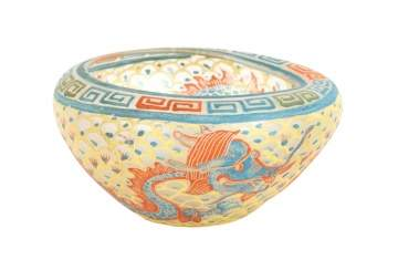 Rare Decorated Verre de Soie Bowl with Dragon