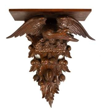 19th Century Carved Walnut Shelf with Eagle