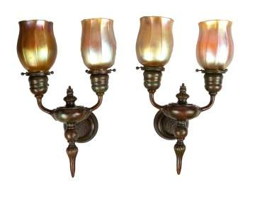 Pair of Tiffany Studios, NY Wall Sconces