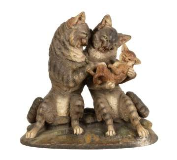 Painted Terra-cotta Cat Family Group