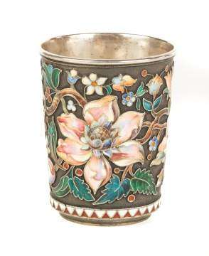 Silver and Enameled Russian Beeker