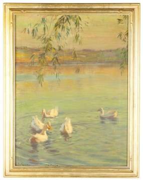 Edward Dufner (American, 1872–1957) Painting of Swans