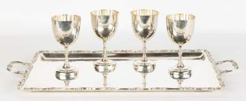 Mexican Sterling Silver Serving Tray and Four Goblets