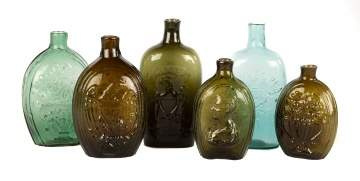 Six Early American Blown Flasks