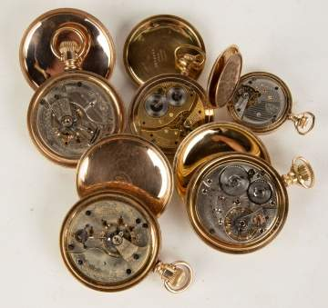 Five Gold Plated Pocket Watches