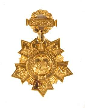 "Tiffany and Co. 24K Gold Medal, ""Faithful Service"""