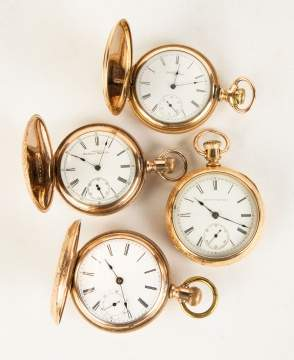 Four Vintage Gold Plated Pocket Watches