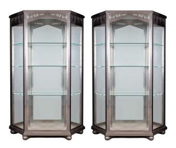 Art Deco Hammered Steel Cabinets
