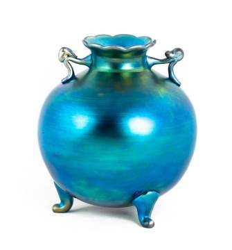 Steuben Blue Aurene Footed and Handled Vase