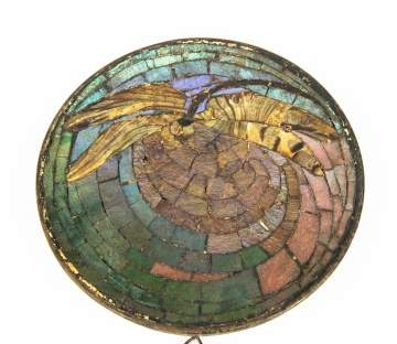 Tiffany Studios, NY Mosaic Glass Dragon Fly Trivet