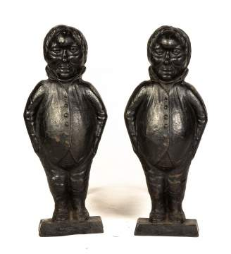 Pair 19th Century Figural Cast Iron Andirons