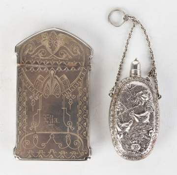 Engraved Silver Card Holder with Silver Scent  Bottle
