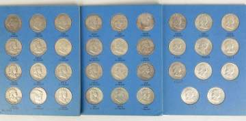Collection Ben Franklin Silver Half Dollars with  Silver Quarters