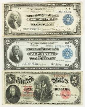 Two Early American Silver Certificates and $5 Bill