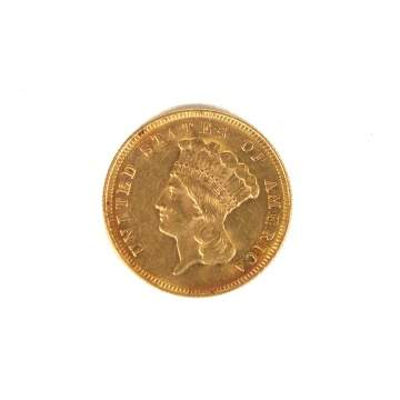 US 1878 $3 Liberty Head Gold Coin