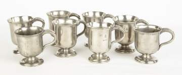 Eight English Pewter Mugs