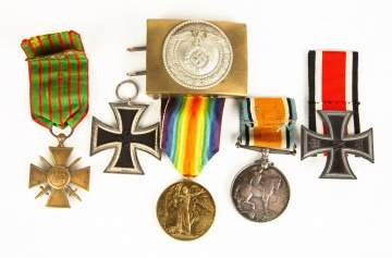 Various Military Medals and Buckle