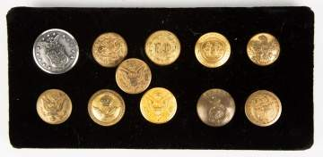 Group of Vintage Military Buttons & 1 Fire Dept.
