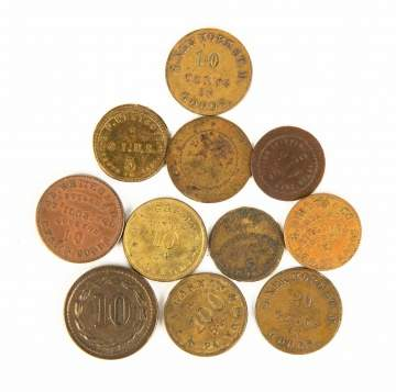 Group of Sutler Civil War Tokens
